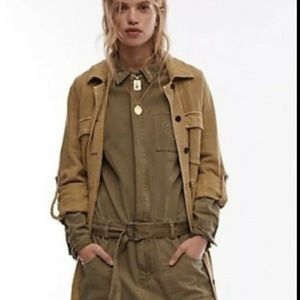 Free People Cargo Military Jumpsuit Size 6 Green